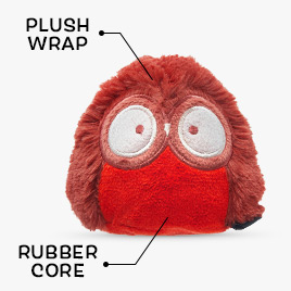 Owl toy with plush wrap and a rubber core